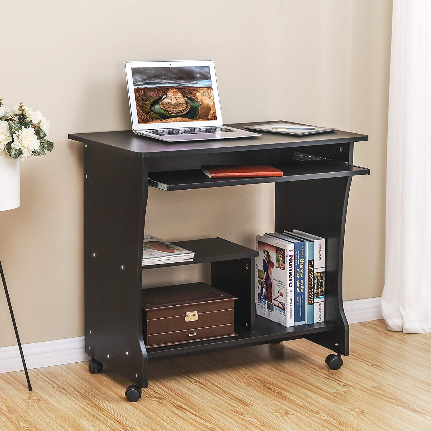 - Movable Computer Desk Home Office Desk For Small Spaces Sturdy