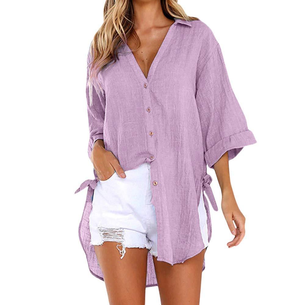 Makeupstore Women Sweatshirts with Pockets, Womens Loose Button Long Shirt Dress Cotton Ladies Casual Tops T-Shirt Blouse