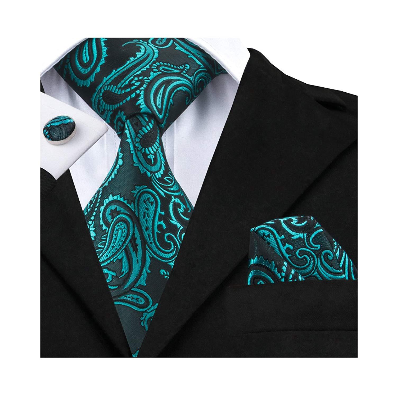 Polyester Silk Necktie ShiningLove Classic Mens Business Necktie Set Cufflink Set Kerchief