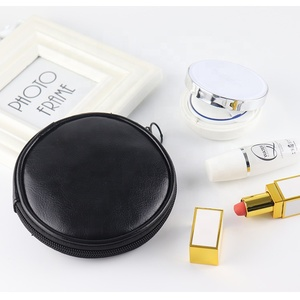 hot sell customized split leather round premium mini lady cosmetic bag or coin bag