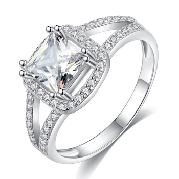 Factory good quality and cheap price 18K Cube diamond S925 silver engagement rings woman gift BSR0039