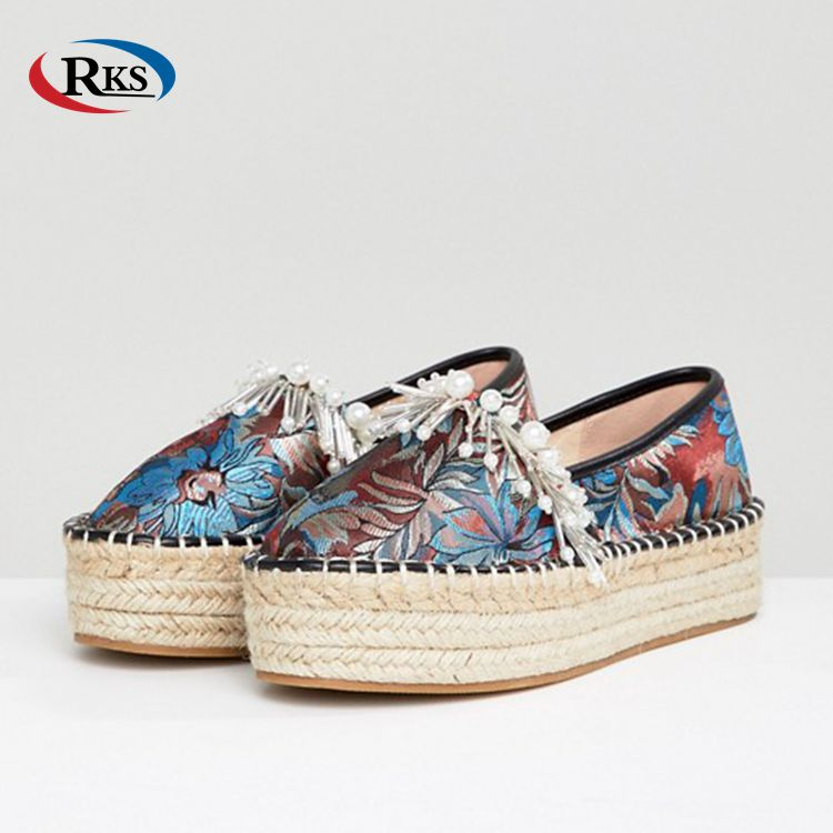 Cheap Ladies Bead Embellishment Woven Color Espadrilles Shoes Made In China High Heels