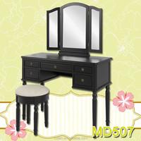 White Dressing Table Mirror & Stool Set 3 Drawers Dresser Bedroom Vanity