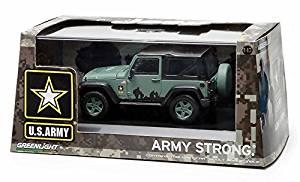 2012 Jeep Wrangler U.S. Army Hard Top Dark Green With Display Showcase 1/43 Diecast Model by Greenlight 86043