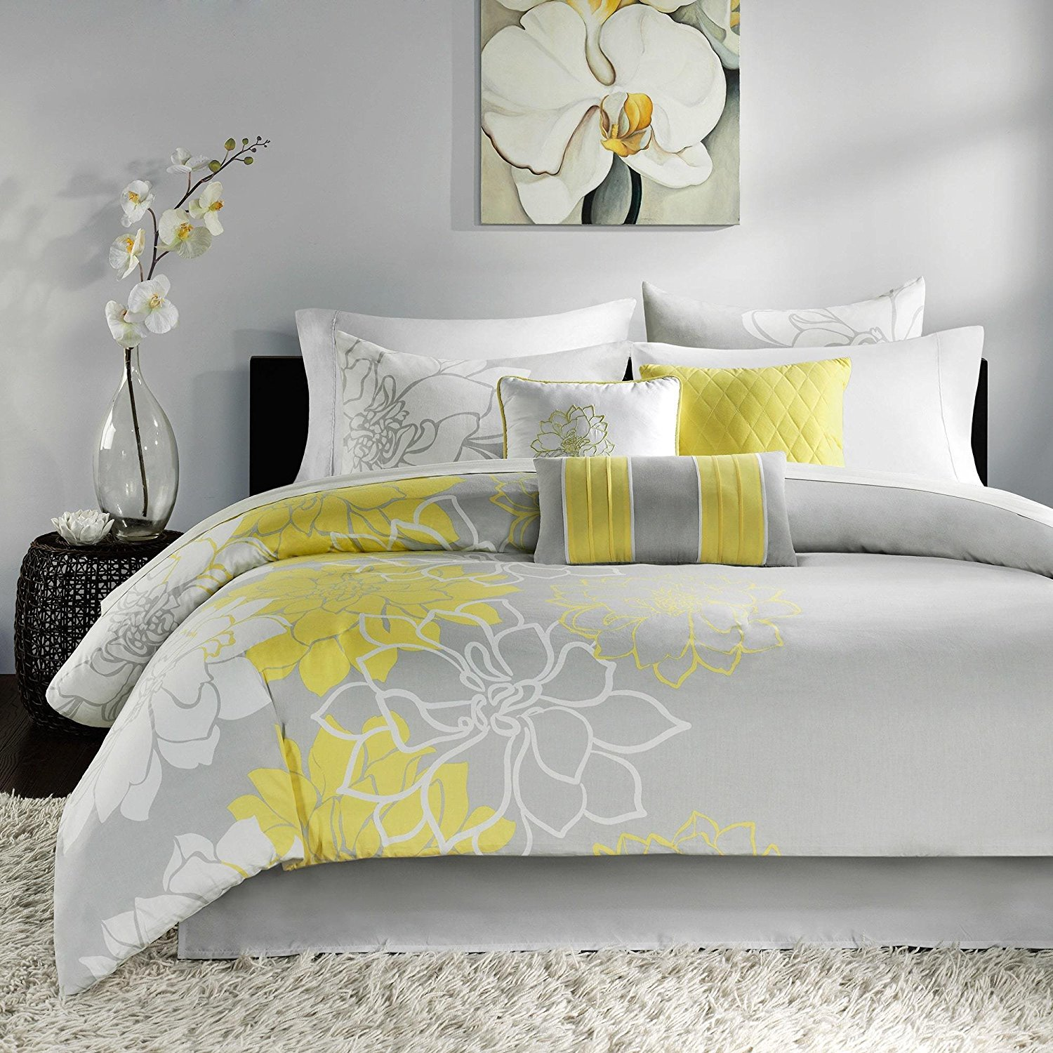 7 Piece Yellow Floral Queen Size Comforter Set, Beautiful Grey Vibrant Flowers Nature, Gray Lily Spring Flower Theme Sleek Modern Shabby Chic Gorgeous Bedding, Cotton Polyester