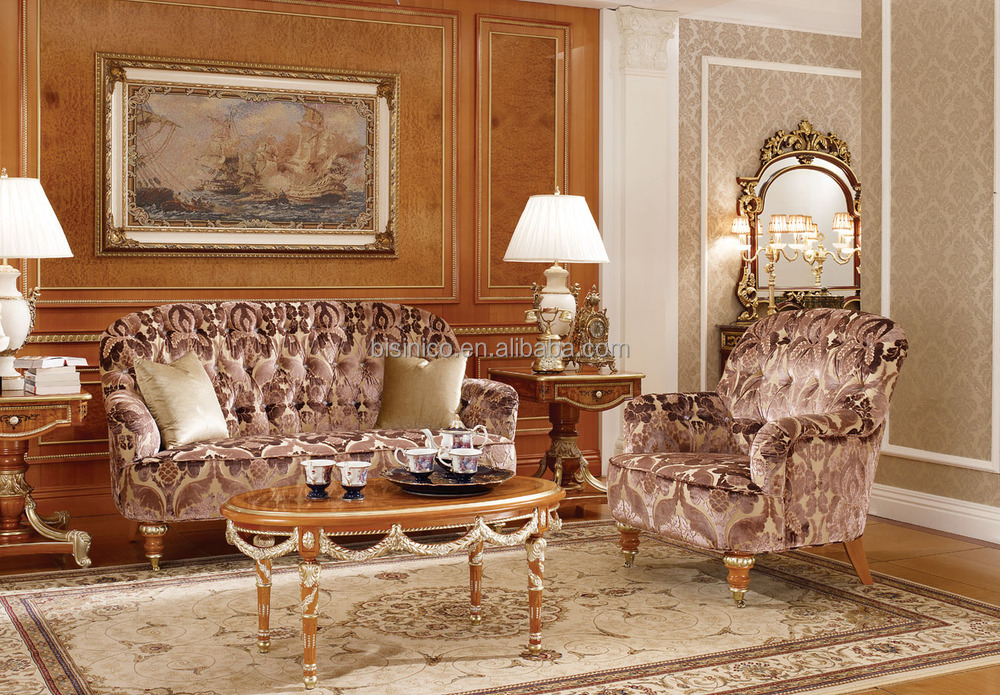 Noble Castle Button Tufted Sofa Set, Luxury Solid Wood Carved Upholstery  Sofa For Living Room