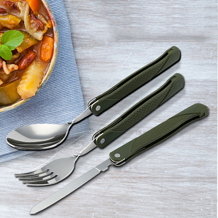 Amazon Travel Portable Outdoor Portable Camping Collapsible Picnic Foldable Tableware Stainless Steel Fork And SpoonTableware
