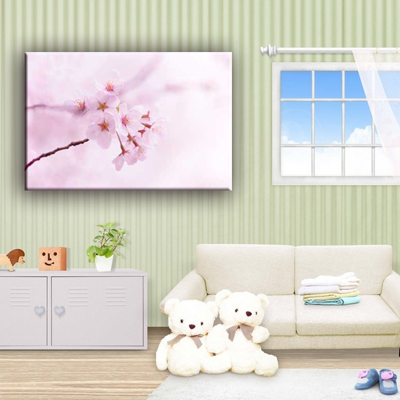 Delicate pink peach blossom cheap flower canvas art painting for living room