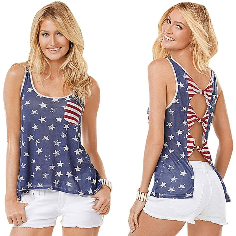 Goodtrade8 Womens Lace V-Neck Tank Tops Blouse American Flag Casual Sleeveless Basic Tunic T-Shirt