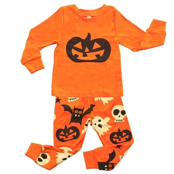 Custom Wholesale Kids Girls Halloween Orange Pajamas Set 100%orangic Cotton  Jersey Boys Silk Screen Printing Nightwear Set - Buy 100% Orangic Cotton