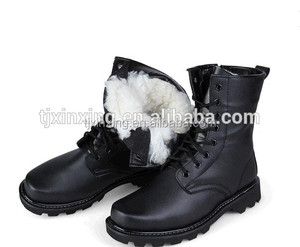 Waterproof used military Hunting cotton-padded combat black leather winter fur boots for men