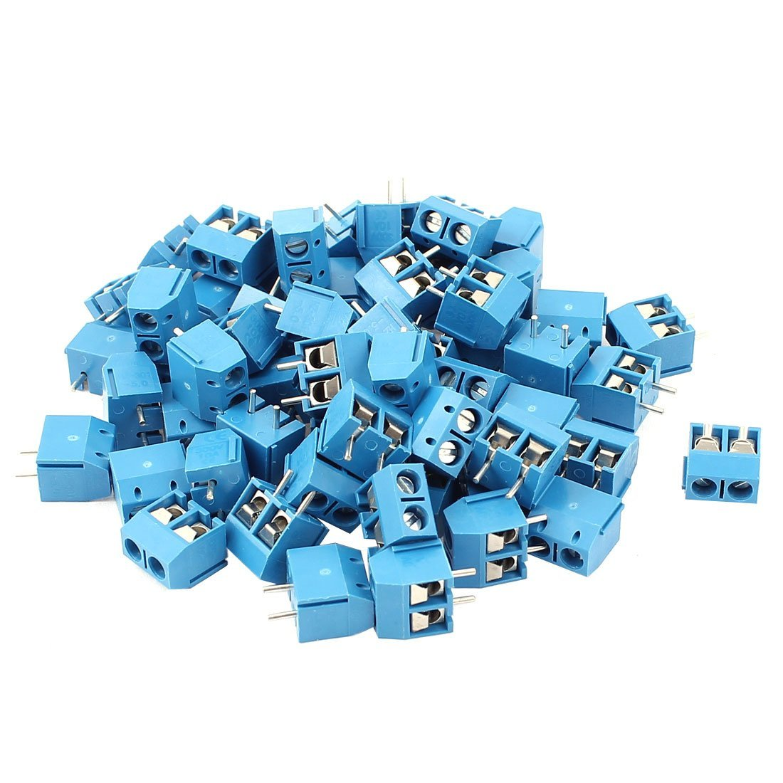 uxcell AC 300V 10A PCB Terminal Block Connector 5.0mm Pitch 60Pcs Blue