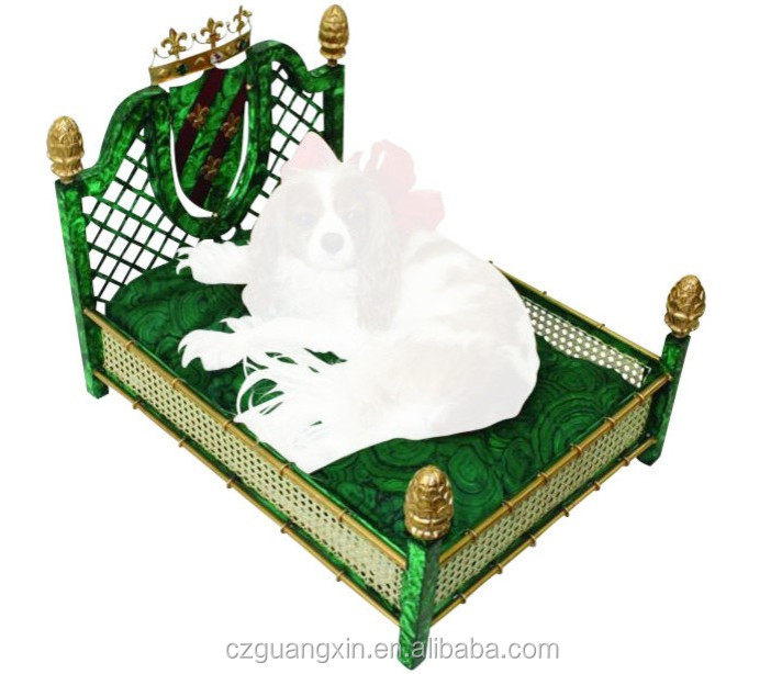 Gold Rattan Malachite Crown Art Deco dog house dog clothes dog grooming