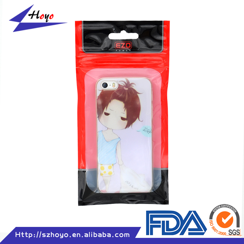 One side clear zip lock mobile phone accessories plastic bag for iphone