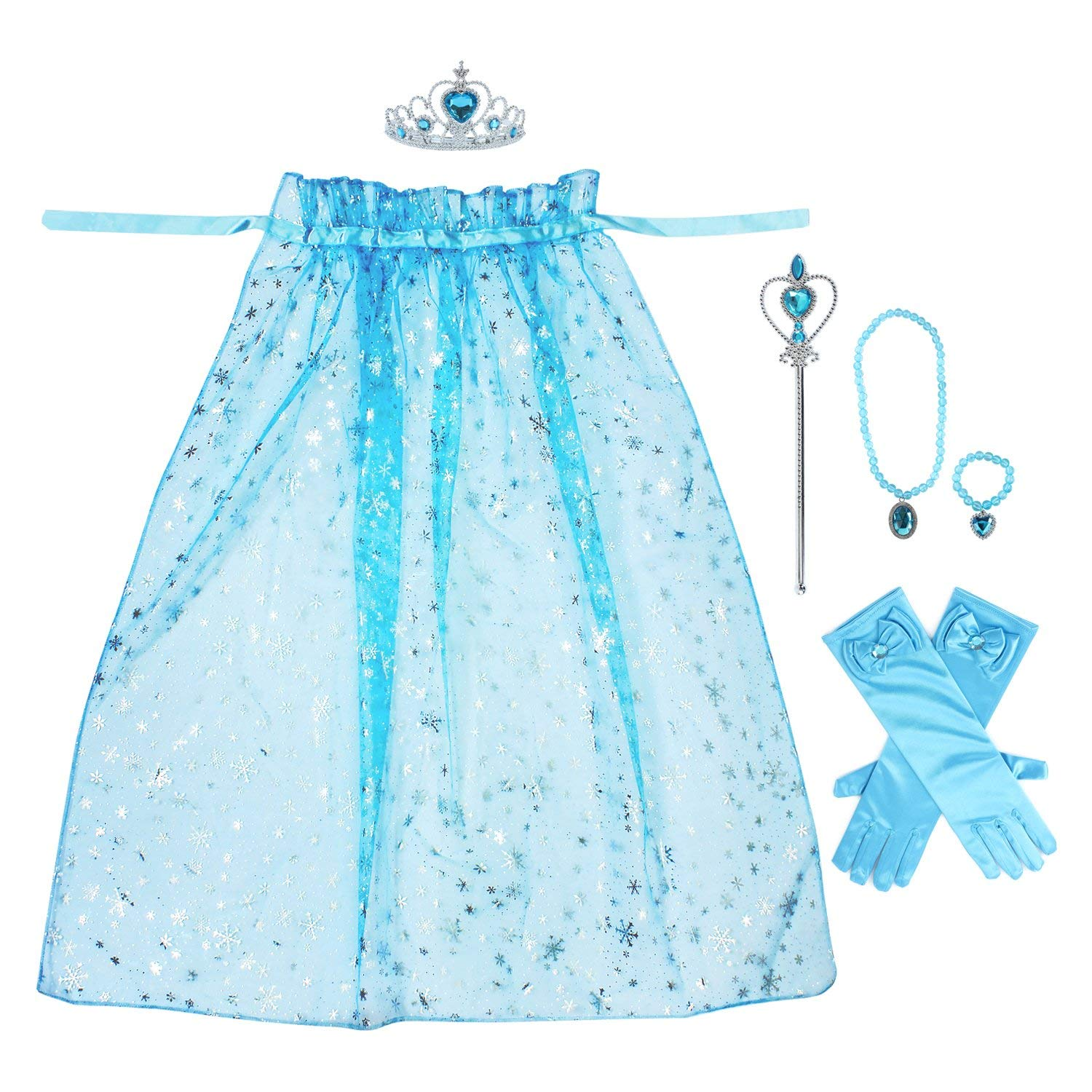 Toiijoy 7Pcs Girls Princess Snowflake Cape Costume Dress up Set with Princess Gloves,Tiara Crown,Wand and Accessories