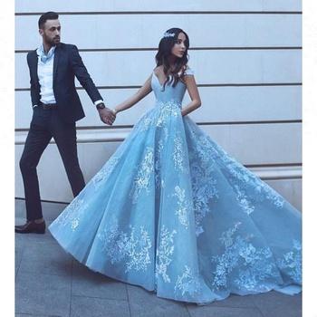 Luxury Bridal Gown Blue Wedding Dresses