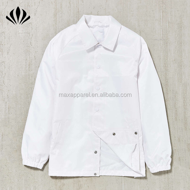 Men point collar raglan sleeve windbreaker jacket 100% nylon snap button plain white coaches jacket