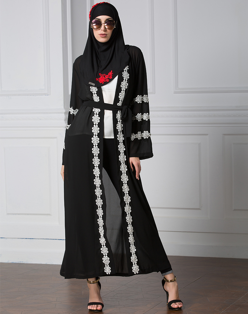 Dubai lace cuff cardigan stitching chiffon gown abaya robe Muslim dress
