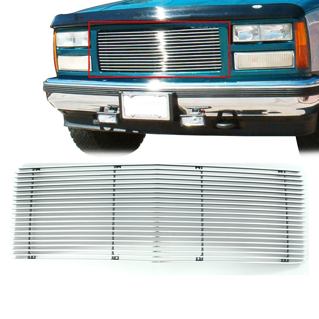 E-Autogrilles Aluminum Polished 4mm Horizontal Cutout Billet Grille for 88-93 GMC C1500/K1500/92-93 Suburban (1PC)(33-0162)