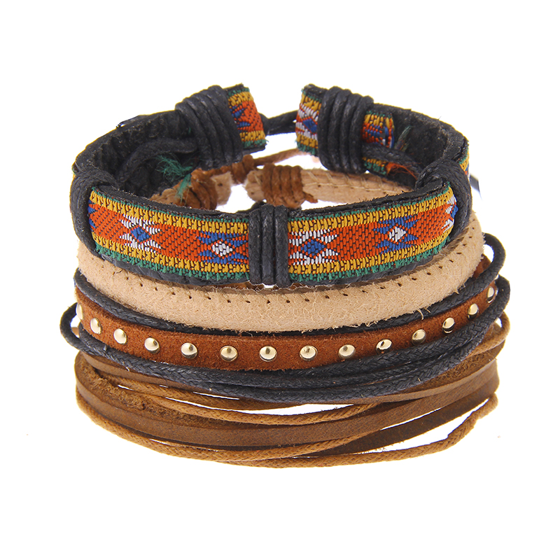 YWMT 2018 New Arrival Leather Multi-storey Alloy Beads Wooden Bracelet Hair  Tie Bracelet Men e145936f4ec