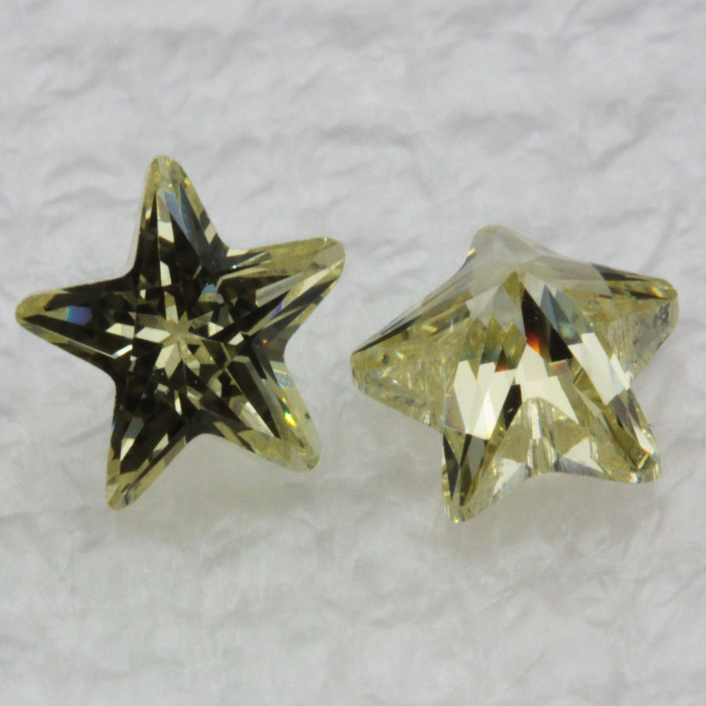 Five Points Star Shape Synthetic CZ Olive Yellow Cubic Zirconia