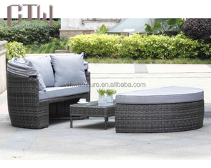 Outdoor furniture rattan swimming pool lounge chair canopy daybed