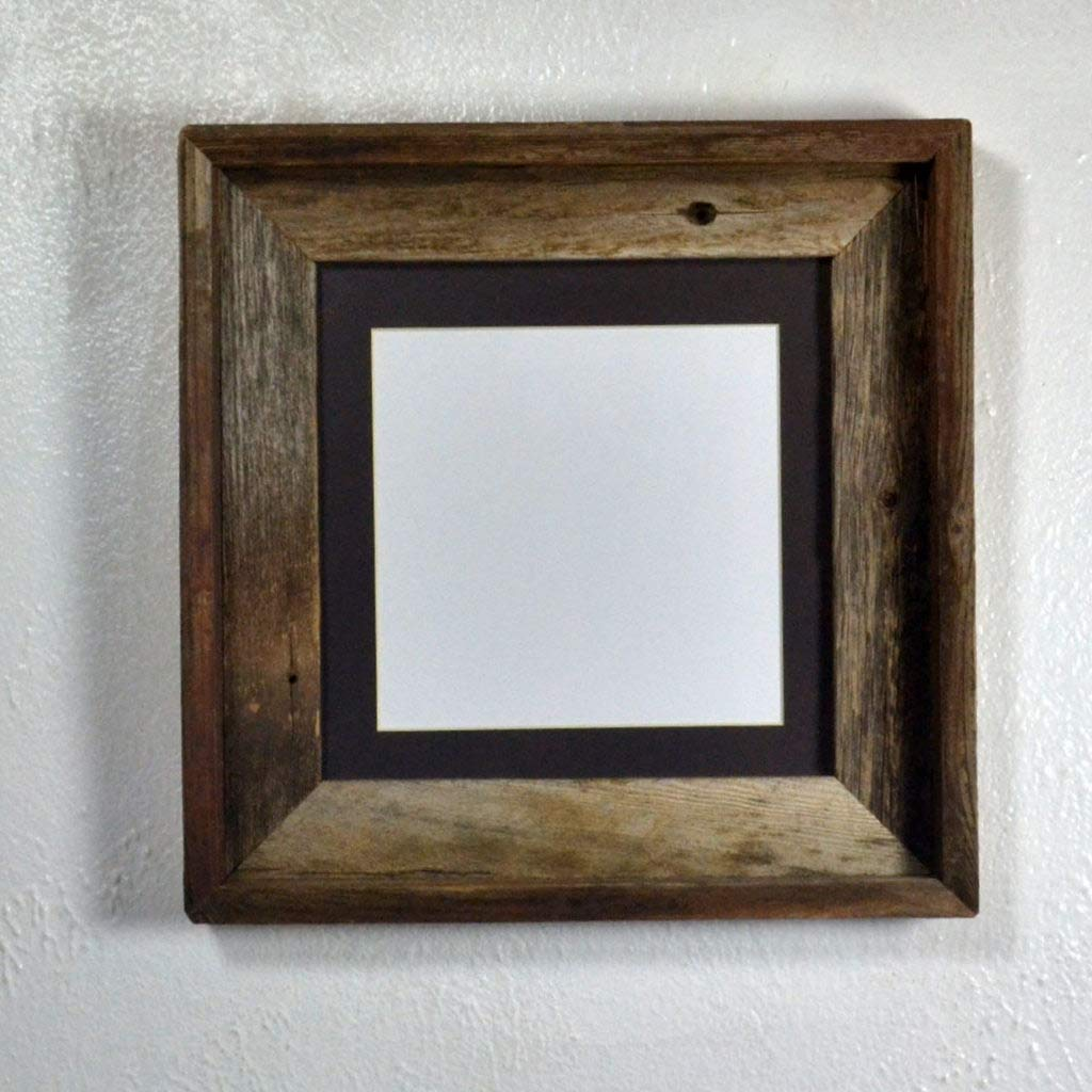 """Picture Frame 6x6 Charcoal Mat Repurposed Wood Rustic Style Complete With Glass 8""""x8"""" Without Mat"""