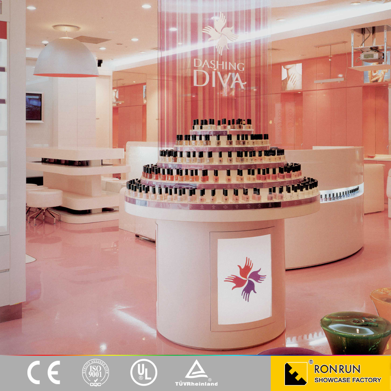 Fashion cosmetic display design showcase,cosmetic shop decoration