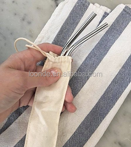 Reusable organic cotton drinking straw storage bag for stainless Steel straw