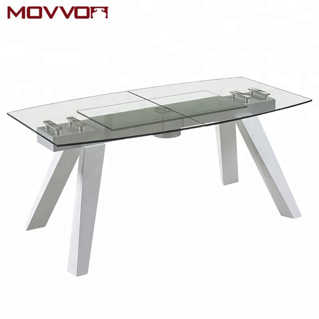 New general style solid glass top wooden feet adjustable dining table for big dining room