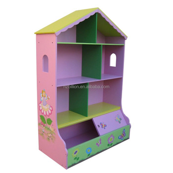 S Dollhouse Bookcase Storage Fairy Flower Bookshelf Cubbyhouse Playhouse