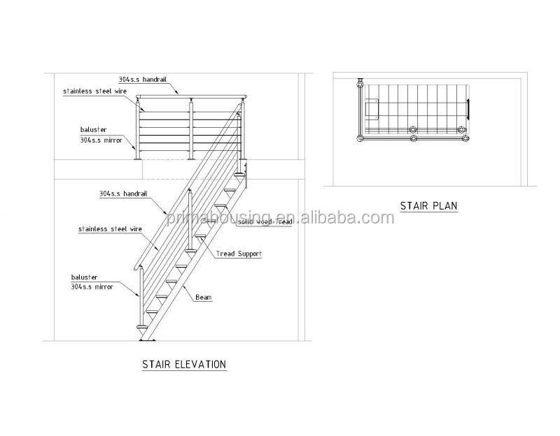 Modern Home Cable Stair Railing Wood Steel Staircase ...