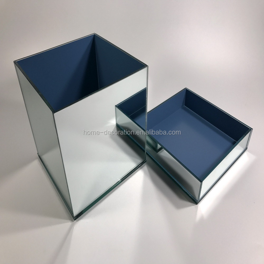 silver glass mirror mosaic box vase with lid