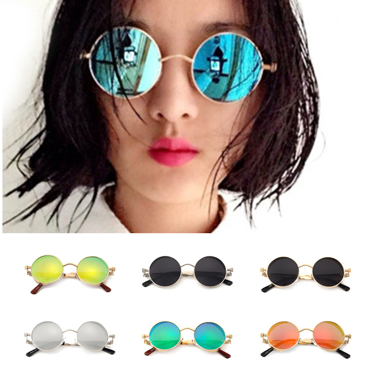 Round Metal <strong>sun</strong> glasses retro women men sunglasses sales promotion