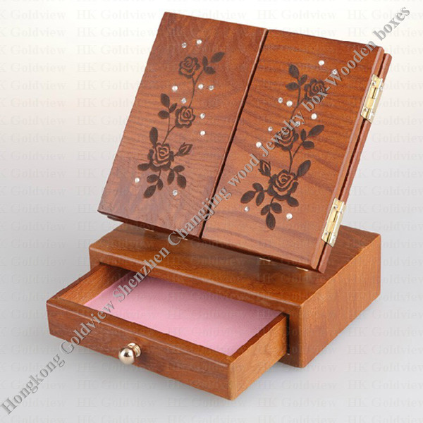 Jewelry box multideck storage wood cases handmade olive for Jewelry box made of wood