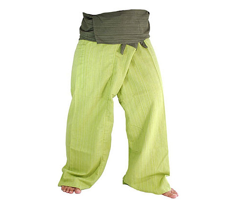 ea8c6b8c3ae85 Two Tone Yoga Pants Trousers Thai Fisherman Pants Free Size Cotton Drill  Stripes Olive lime