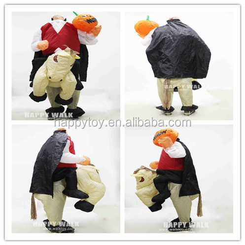 HI CE Helloween No Head Ghost Costume,Pumpkin inflatable horse costume without head,Inflatable costume for adult men