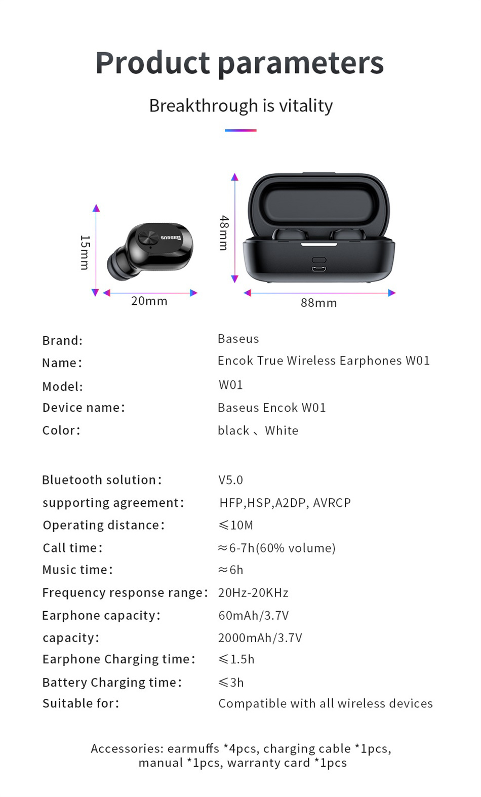 Baseus New Design TWS Encok Ture W01 Wireless Earphone With Box for Iphone