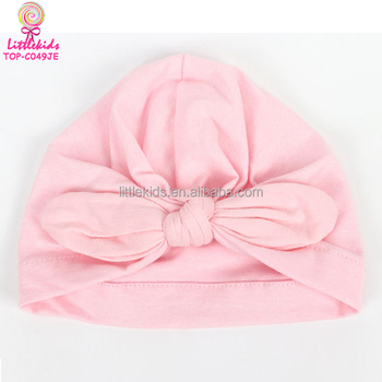 1471b5f8 Wholesale Knitted Cotton Blend Fashion Pink Turban Hat Baby Bow Newborn  Girl Sleeping Beanies Hat