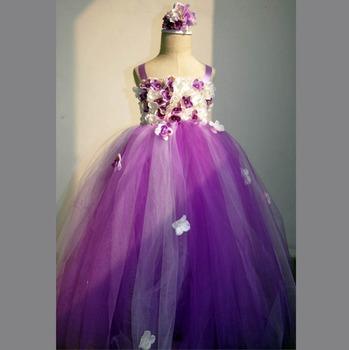 449f511e687 Floral Children tutu dress flower girl dress purple tulle fairy dress  forest baby girl frock