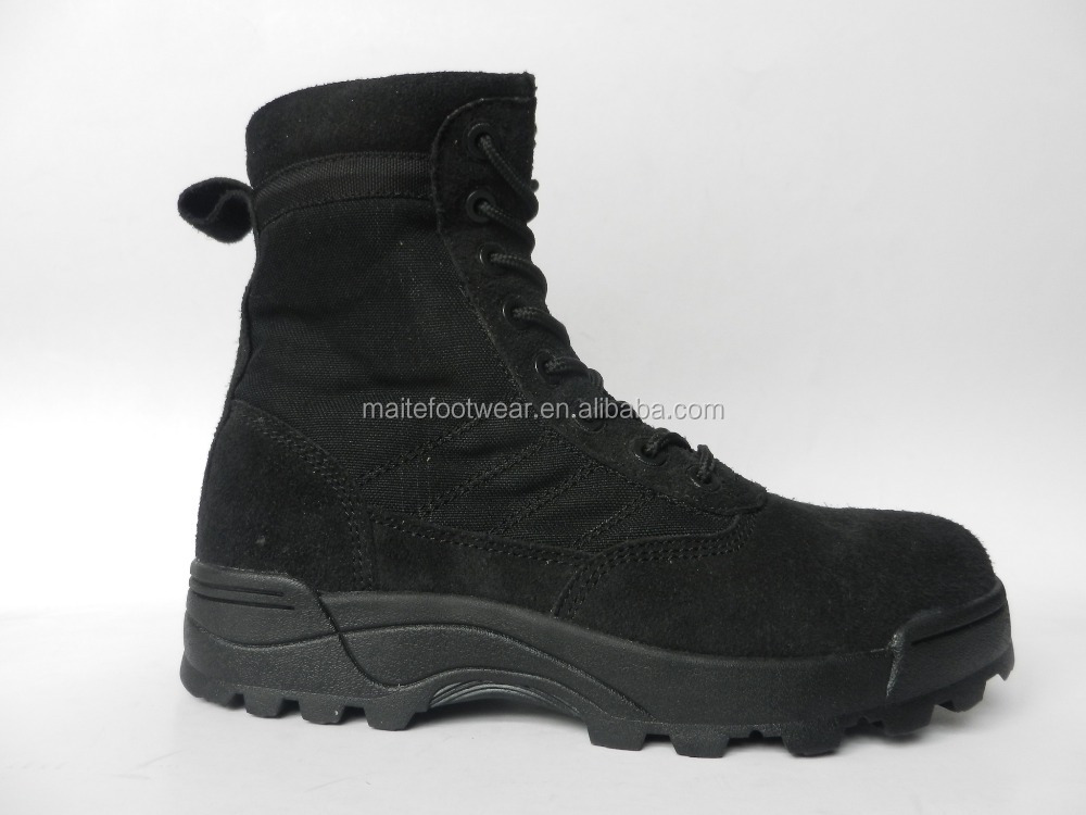 Black suede leather military camouflage boots with YKK zipper