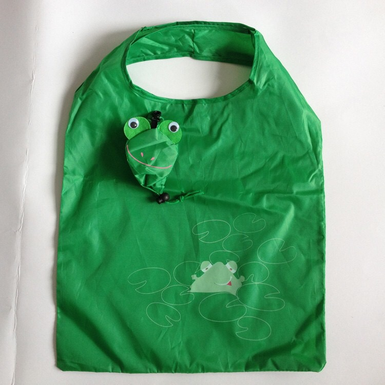 190T Polyester tote foldable Frog shopping bag grocery bag