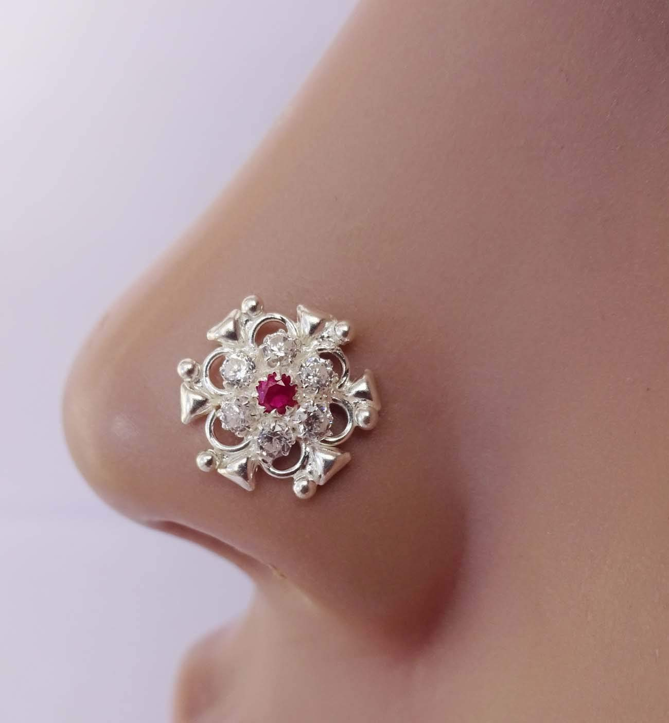 Ruby Stone Nose Stud,Silver Nose Cuff,Crystal Stone Nose Piercing,Silver Diamond Piercing,Monroe Nose Ring,Tiny Gold Piercing,Wedding Nose Screw,CZ Clear Nose Stud,Crock Screw Nose Stud(TEJ827)