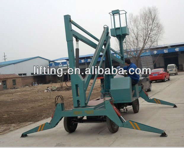 Diesel Engine &380V Electricity double used aerial folding work platform