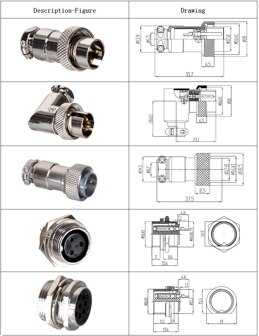 High quality Aviation plug12mm GX12-5 male female screw type air connector new and original