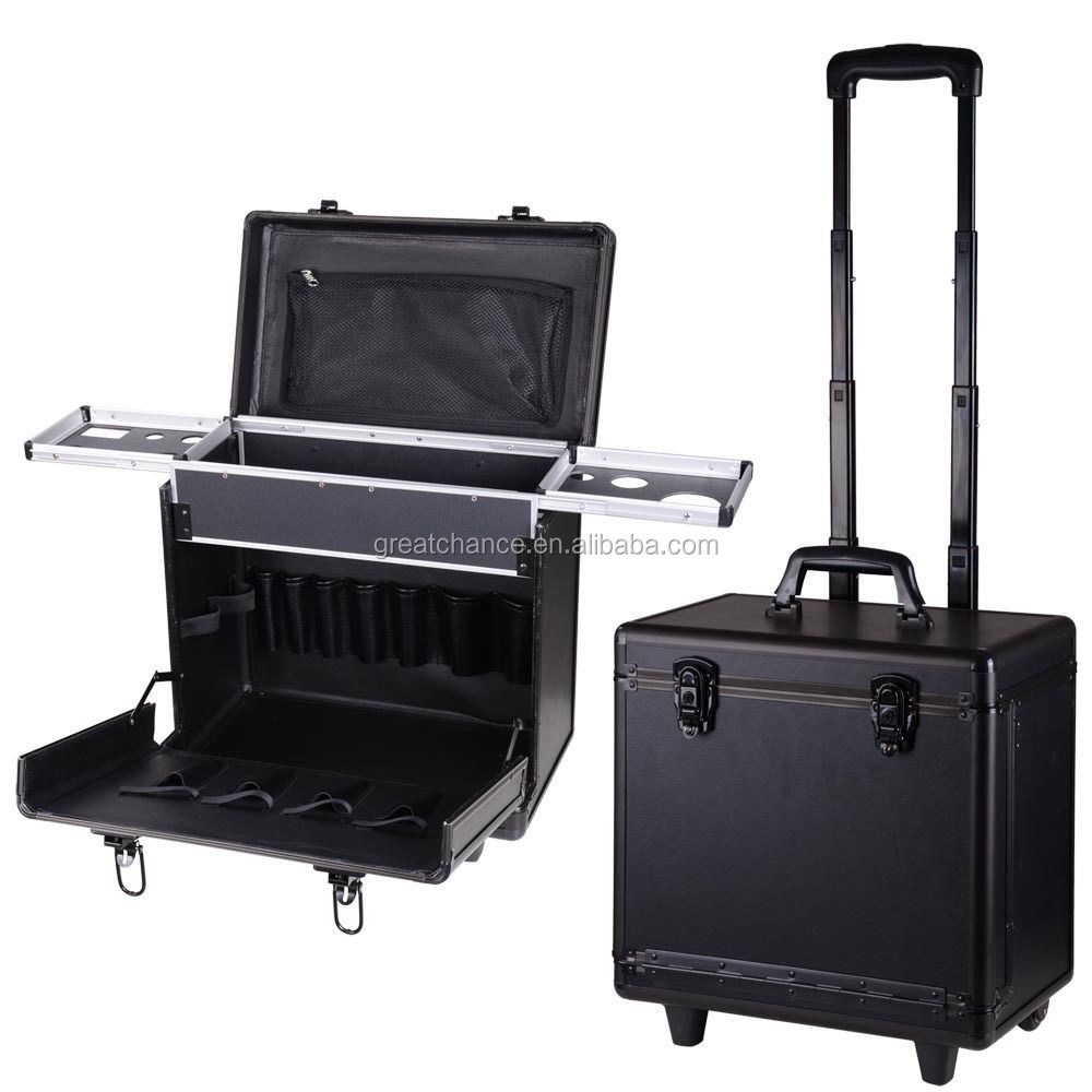 Rolling PVC Hair Makeup Train Case Barber Salon Clipper Trimmer Tool Box Black