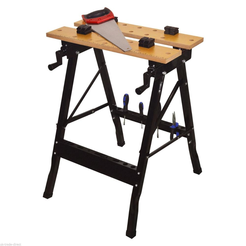 Clamps Height Adjustable Sawhorse Foldable Wood Work Bench Table Buy Portable Sawhorseclamping Work Benchclamping Work Table Product On