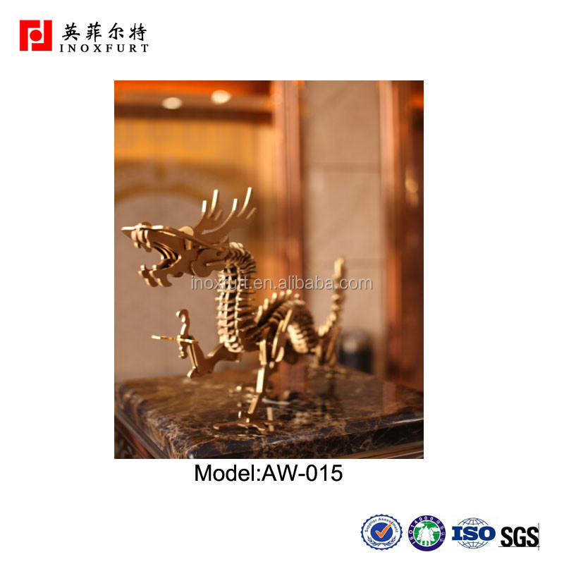 Art Sculpture Golden Chinese Dragon Laser Cut Metal Art For ...