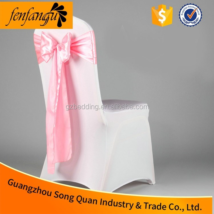 White Spandex Chair Cover With Buckle or Satin Sash for Wedding Banquet