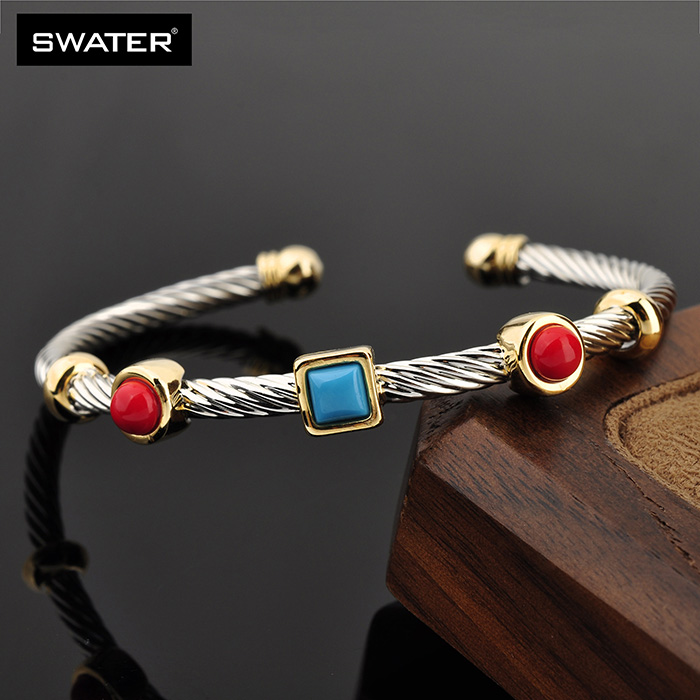 Wholesale Women Stainless Steel Turquoise Stone Cable Wire Bracelet